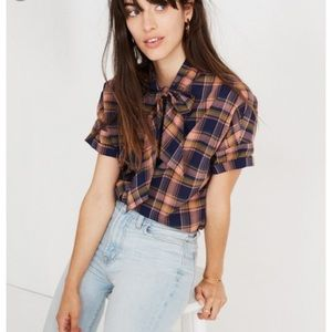 Madewell tie-neck shirt in junipero plaid